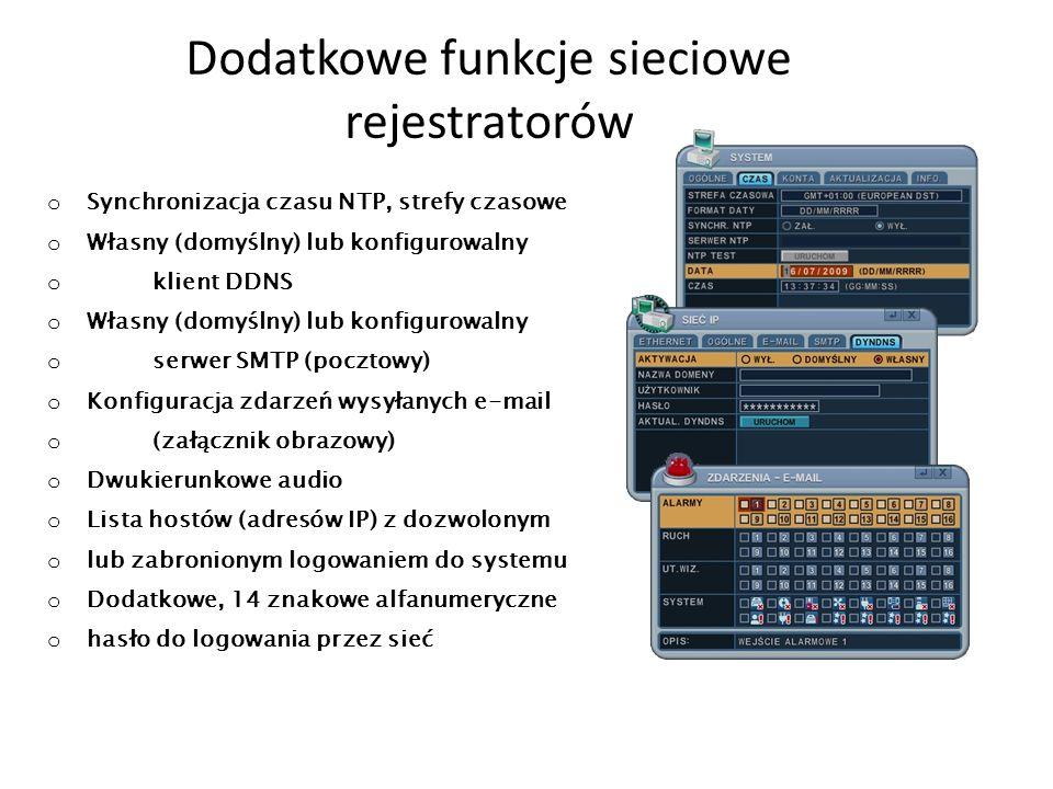 Dodatkowe funkcje sieciowe rejestratorów o Synchronizacja czasu NTP, strefy czasowe o Własny (domyślny) lub konfigurowalny o klient DDNS o Własny (dom