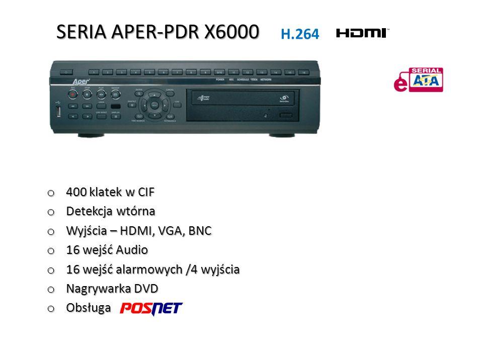 SERIA APER-PDR X6000 o 400 klatek w CIF o Detekcja wtórna o Wyjścia – HDMI, VGA, BNC o 16 wejść Audio o 16 wejść alarmowych /4 wyjścia o Nagrywarka DV