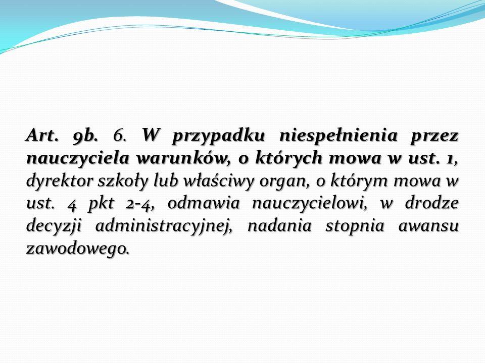 Art. 9b. 6. W przypadku niespełnienia przez nauczyciela warunków, o których mowa w ust. 1, dyrektor szkoły lub właściwy organ, o którym mowa w ust. 4