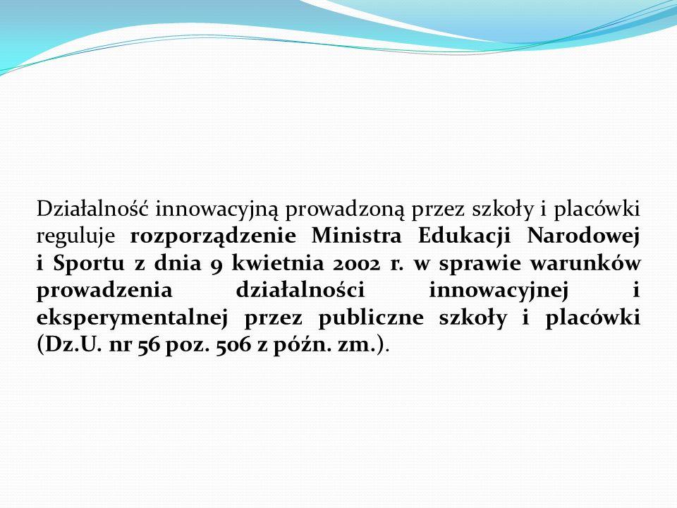 Działalność innowacyjną prowadzoną przez szkoły i placówki reguluje rozporządzenie Ministra Edukacji Narodowej i Sportu z dnia 9 kwietnia 2002 r. w sp