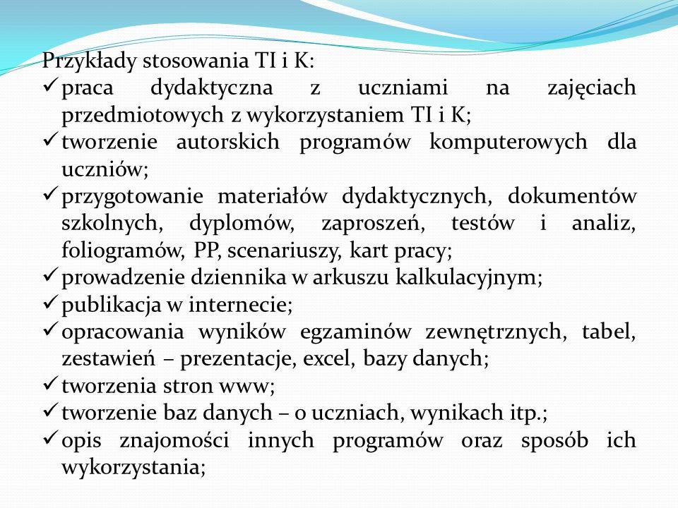 Przykłady stosowania TI i K: praca dydaktyczna z uczniami na zajęciach przedmiotowych z wykorzystaniem TI i K; tworzenie autorskich programów komputer