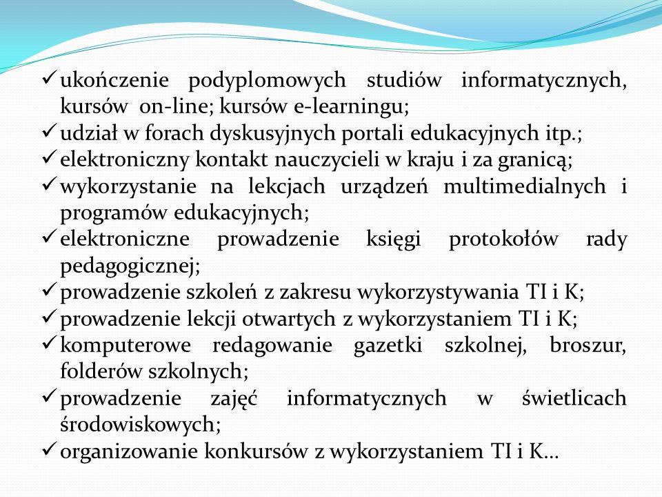 ukończenie podyplomowych studiów informatycznych, kursów on-line; kursów e-learningu; udział w forach dyskusyjnych portali edukacyjnych itp.; elektron