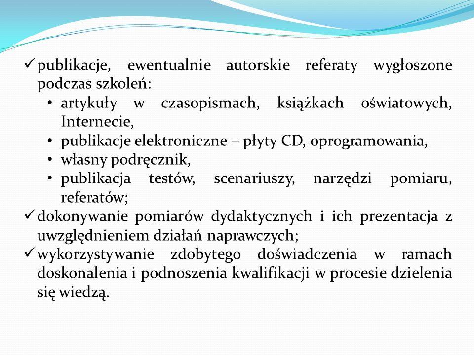publikacje, ewentualnie autorskie referaty wygłoszone podczas szkoleń: artykuły w czasopismach, książkach oświatowych, Internecie, publikacje elektron