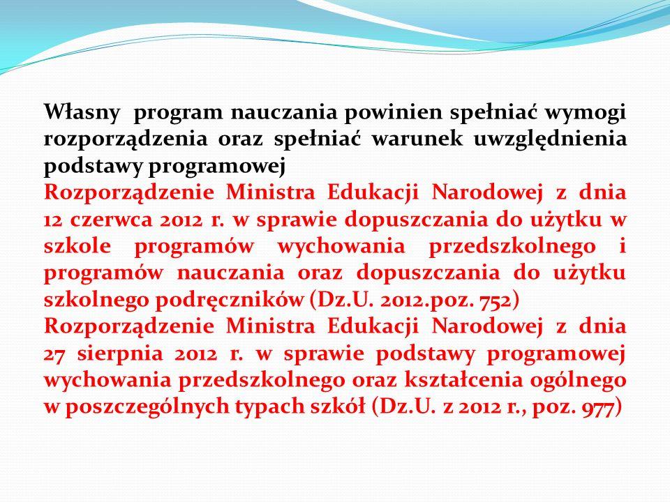 Własny program nauczania powinien spełniać wymogi rozporządzenia oraz spełniać warunek uwzględnienia podstawy programowej Rozporządzenie Ministra Eduk