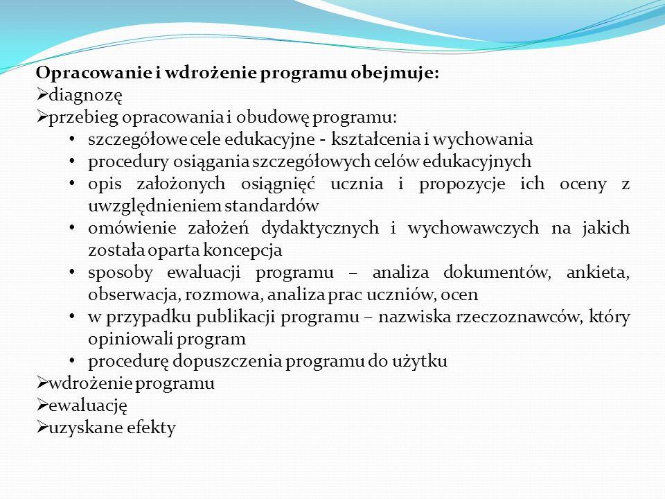 Opracowanie i wdrożenie programu obejmuje: diagnozę przebieg opracowania i obudowę programu: szczegółowe cele edukacyjne - kształcenia i wychowania pr