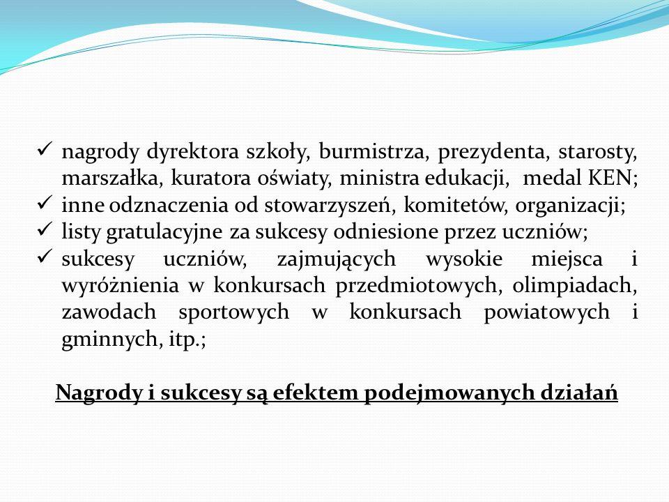 nagrody dyrektora szkoły, burmistrza, prezydenta, starosty, marszałka, kuratora oświaty, ministra edukacji, medal KEN; inne odznaczenia od stowarzysze