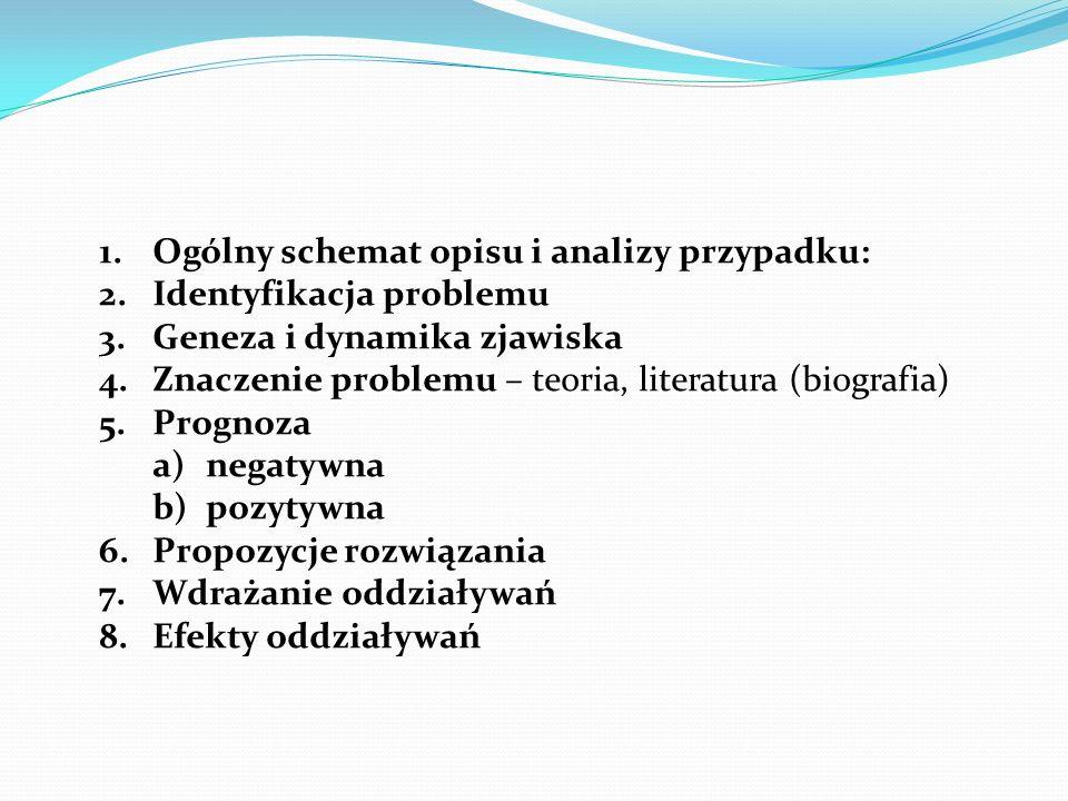 1.Ogólny schemat opisu i analizy przypadku: 2.Identyfikacja problemu 3.Geneza i dynamika zjawiska 4.Znaczenie problemu – teoria, literatura (biografia