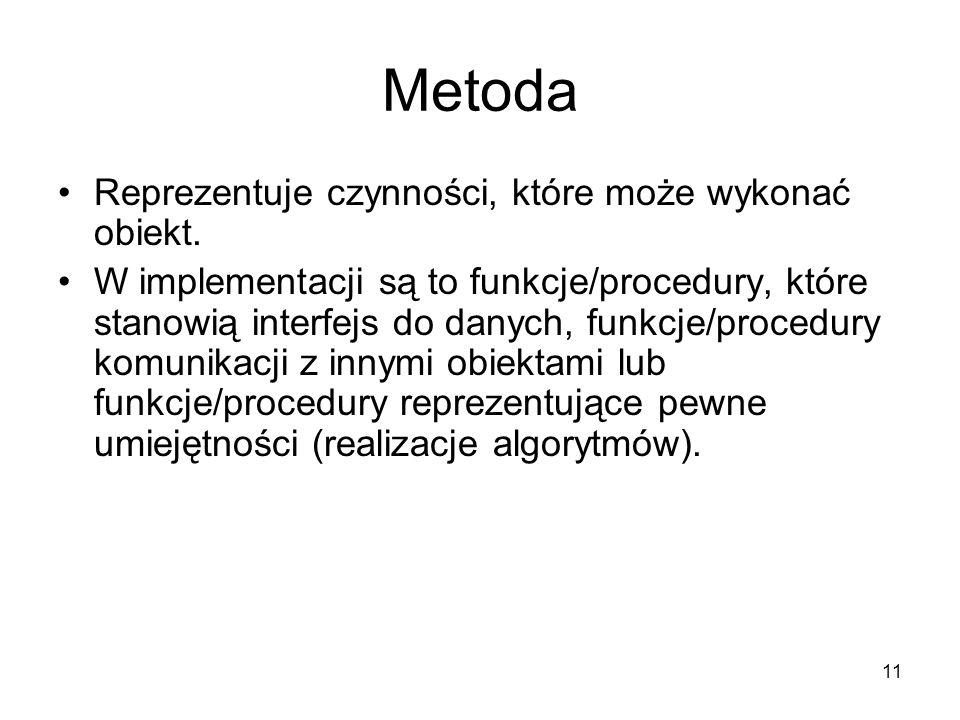 11 Metoda Reprezentuje czynności, które może wykonać obiekt. W implementacji są to funkcje/procedury, które stanowią interfejs do danych, funkcje/proc