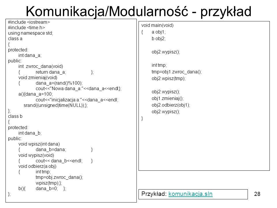28 Komunikacja/Modularność - przykład #include using namespace std; class a { protected: int dana_a; public: int zwroc_dana(void) {return dana_a;}; vo