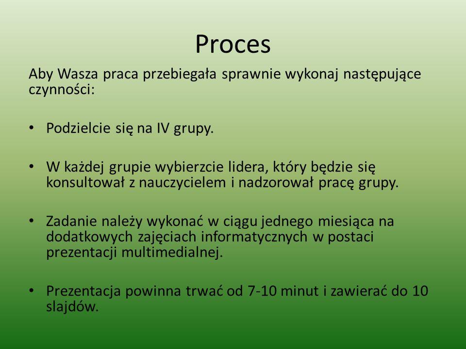 Proces Aby Wasza praca przebiegała sprawnie wykonaj następujące czynności: Podzielcie się na IV grupy. W każdej grupie wybierzcie lidera, który będzie