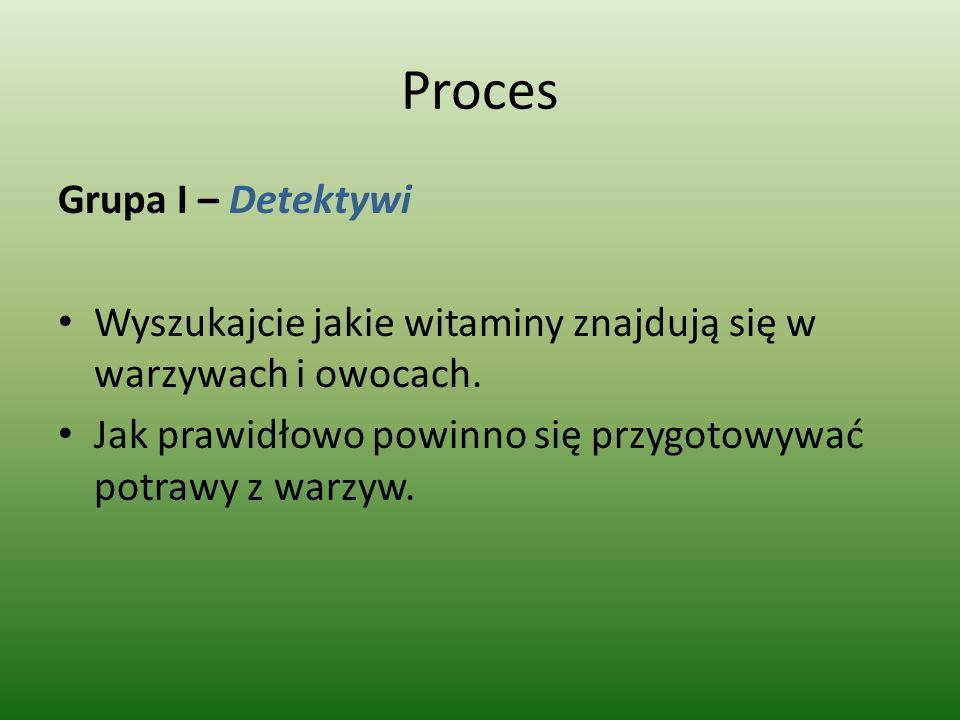 Proces Grupa I – Detektywi Wyszukajcie jakie witaminy znajdują się w warzywach i owocach. Jak prawidłowo powinno się przygotowywać potrawy z warzyw.