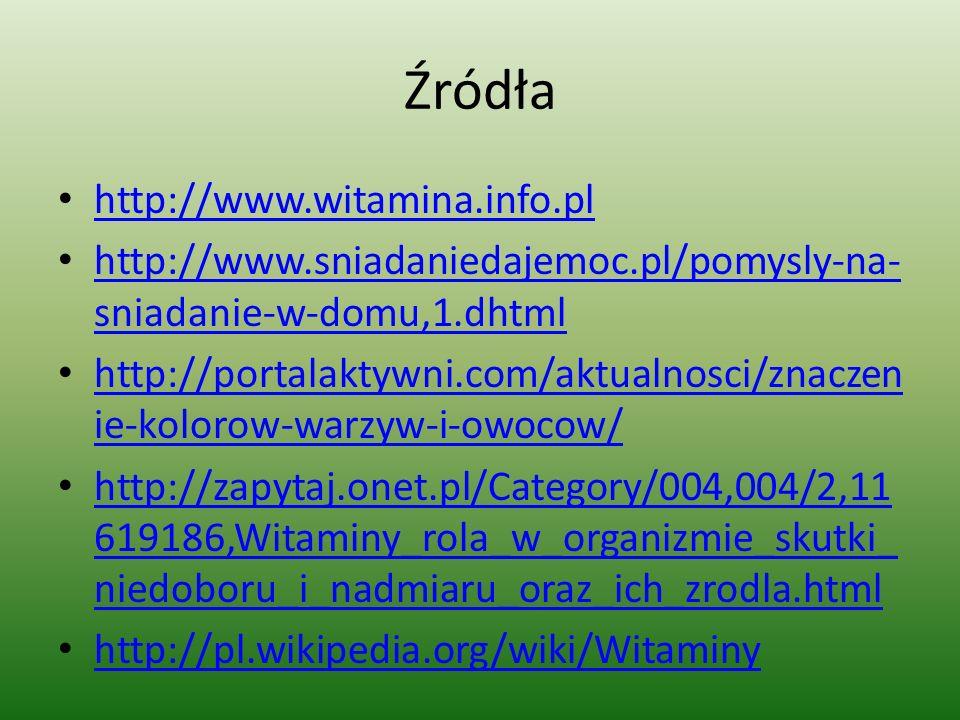 Źródła http://www.witamina.info.pl http://www.sniadaniedajemoc.pl/pomysly-na- sniadanie-w-domu,1.dhtml http://www.sniadaniedajemoc.pl/pomysly-na- snia
