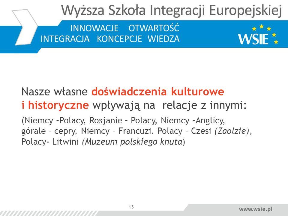 13 Nasze własne doświadczenia kulturowe i historyczne wpływają na relacje z innymi: (Niemcy –Polacy, Rosjanie – Polacy, Niemcy –Anglicy, górale – cepry, Niemcy – Francuzi.