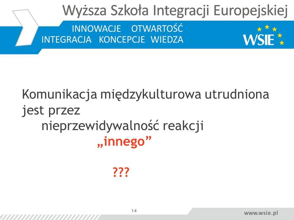 14 Komunikacja międzykulturowa utrudniona jest przez nieprzewidywalność reakcji innego ???