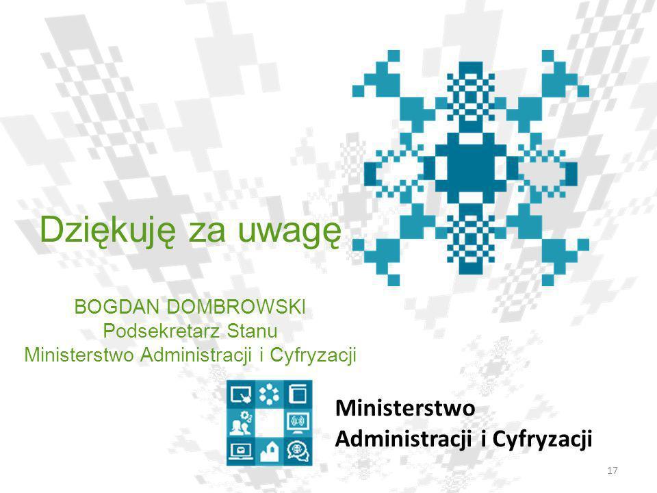 17 Ministerstwo Administracji i Cyfryzacji Dziękuję za uwagę BOGDAN DOMBROWSKI Podsekretarz Stanu Ministerstwo Administracji i Cyfryzacji