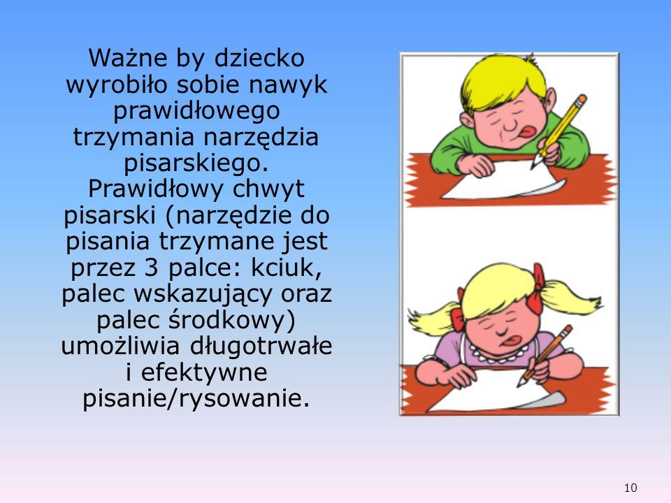 Ważne by dziecko wyrobiło sobie nawyk prawidłowego trzymania narzędzia pisarskiego. Prawidłowy chwyt pisarski (narzędzie do pisania trzymane jest prze