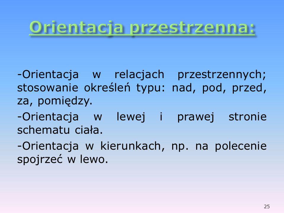 -Orientacja w relacjach przestrzennych; stosowanie określeń typu: nad, pod, przed, za, pomiędzy. -Orientacja w lewej i prawej stronie schematu ciała.