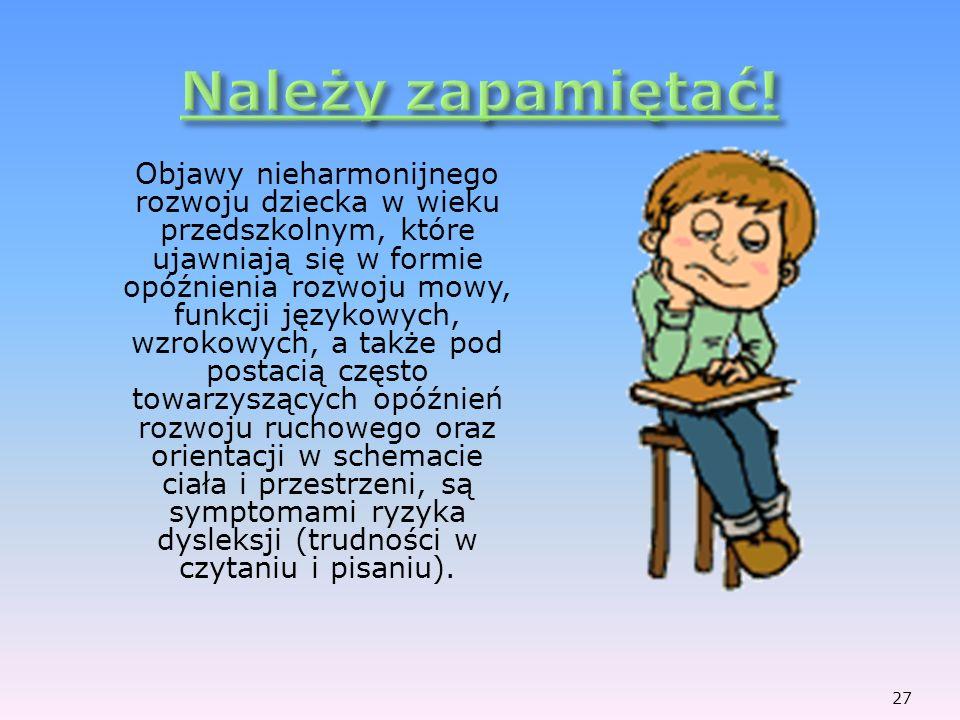 Objawy nieharmonijnego rozwoju dziecka w wieku przedszkolnym, które ujawniają się w formie opóźnienia rozwoju mowy, funkcji językowych, wzrokowych, a