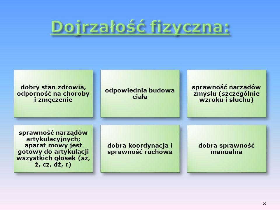 dobry stan zdrowia, odporność na choroby i zmęczenie odpowiednia budowa ciała sprawność narządów zmysłu (szczególnie wzroku i słuchu) sprawność narząd