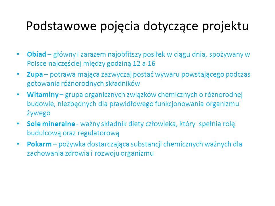 Podstawowe pojęcia dotyczące projektu Obiad – główny i zarazem najobfitszy posiłek w ciągu dnia, spożywany w Polsce najczęściej między godziną 12 a 16