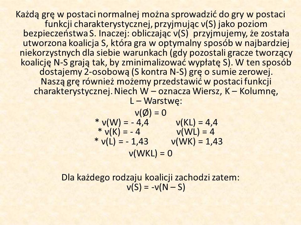 Każdą grę w postaci normalnej można sprowadzić do gry w postaci funkcji charakterystycznej, przyjmując ν(S) jako poziom bezpieczeństwa S. Inaczej: obl