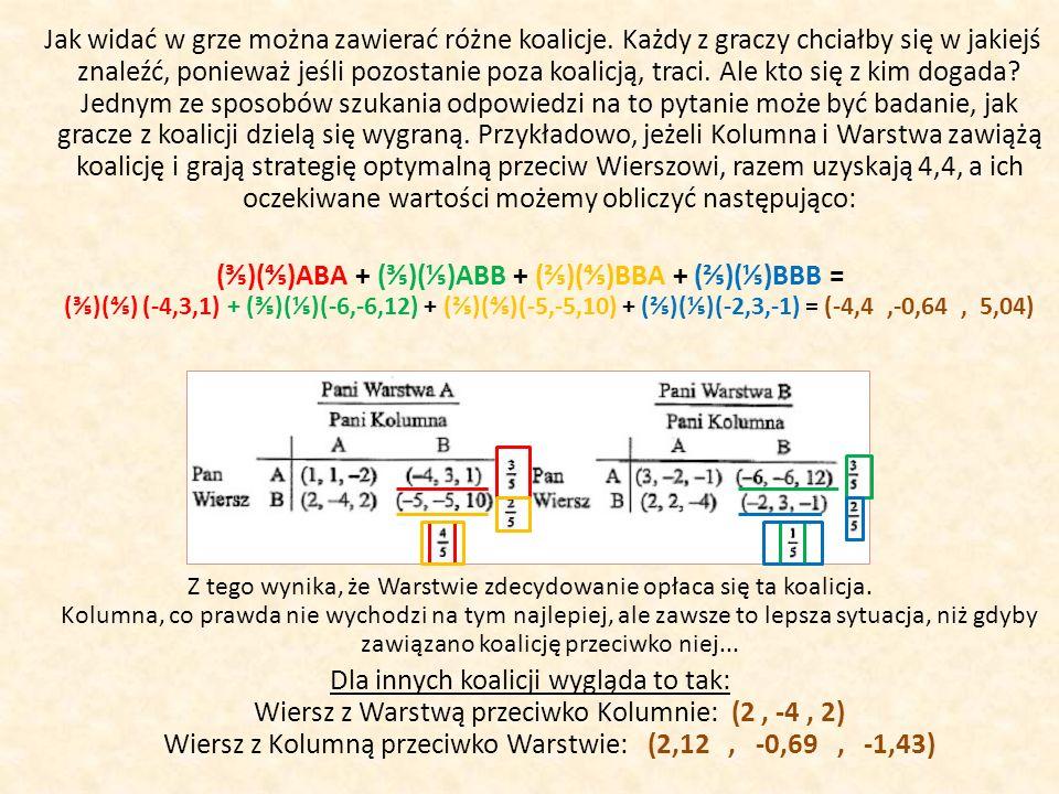 Wi vs K+Wa : (-4,4, -0,64, 5,04) K vs Wi+Wa : (2, -4, 2) Wa vs Wi+K : (2,12, -0,69, -1,43) Wyliczenia te możemy wykorzystać do przewidzenia, kto z kim wejdzie w koalicję, np.