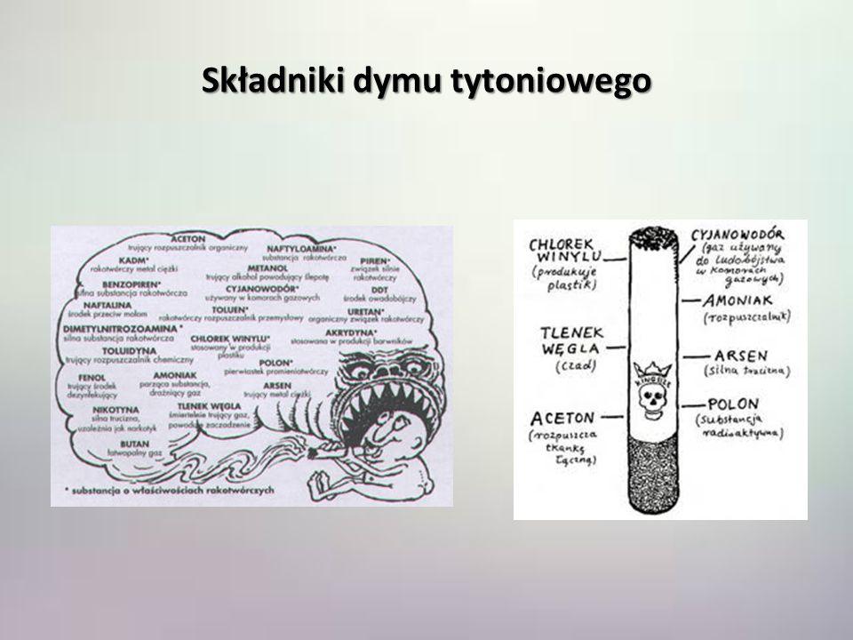 Składniki dymu tytoniowego Acetonrozpuszczalnik Arsenstosowany jako popularna trutka na szczury i inne gryzonie Chlorek winyluzwiązek używany także do