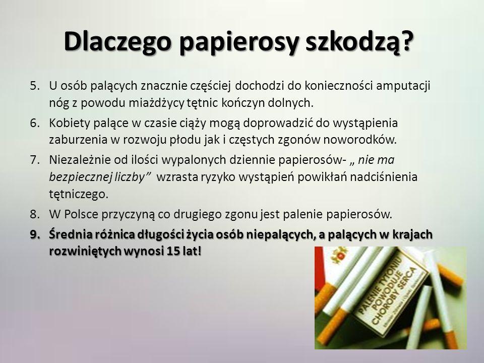 Dlaczego papierosy szkodzą? 1.Paląc papierosy zwiększasz trzykrotnie ryzyko wystąpienia zawału serca i udaru mózgu. 2.Po wypaleniu każdego papierosa n