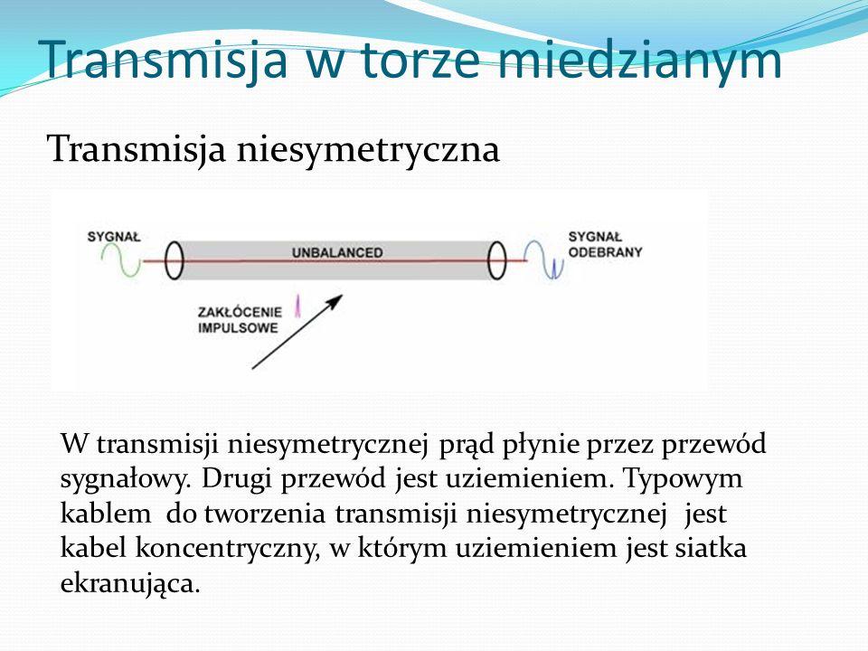 Transmisja w torze miedzianym Transmisja niesymetryczna W transmisji niesymetrycznej prąd płynie przez przewód sygnałowy. Drugi przewód jest uziemieni