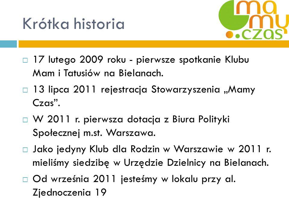 Krótka historia 17 lutego 2009 roku - pierwsze spotkanie Klubu Mam i Tatusiów na Bielanach. 13 lipca 2011 rejestracja Stowarzyszenia Mamy Czas. W 2011