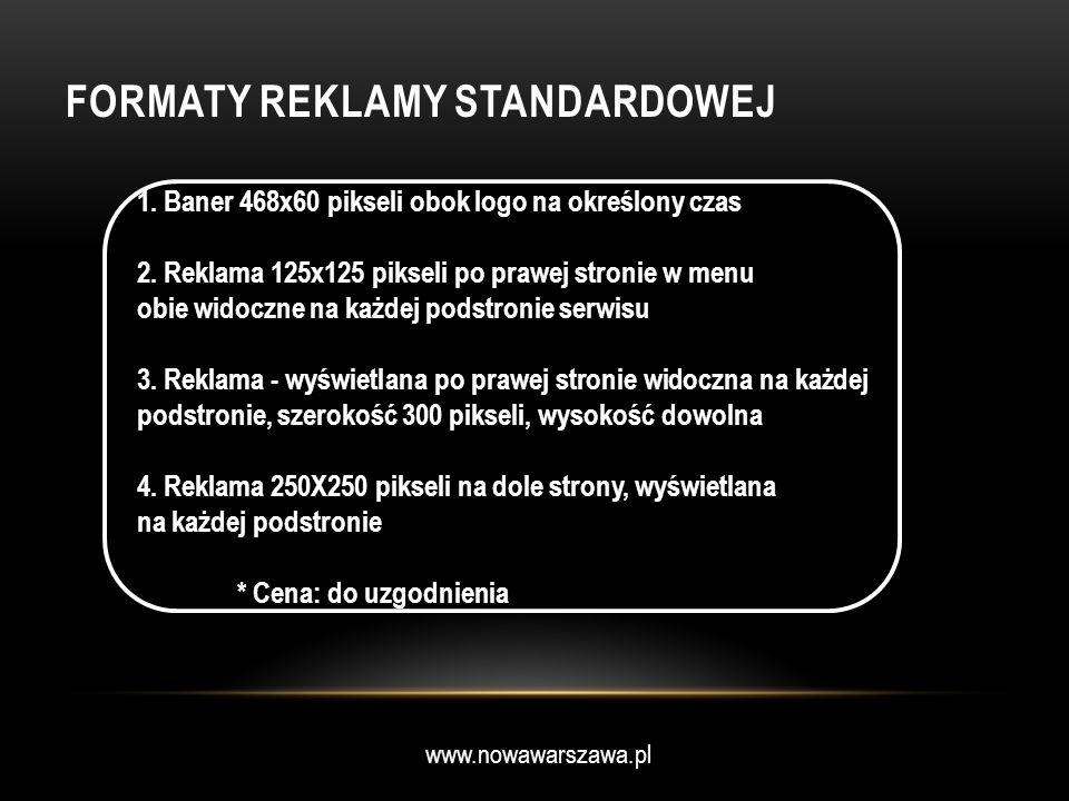 www.nowawarszawa.pl FORMATY REKLAMY STANDARDOWEJ 1. Baner 468x60 pikseli obok logo na określony czas 2. Reklama 125x125 pikseli po prawej stronie w me