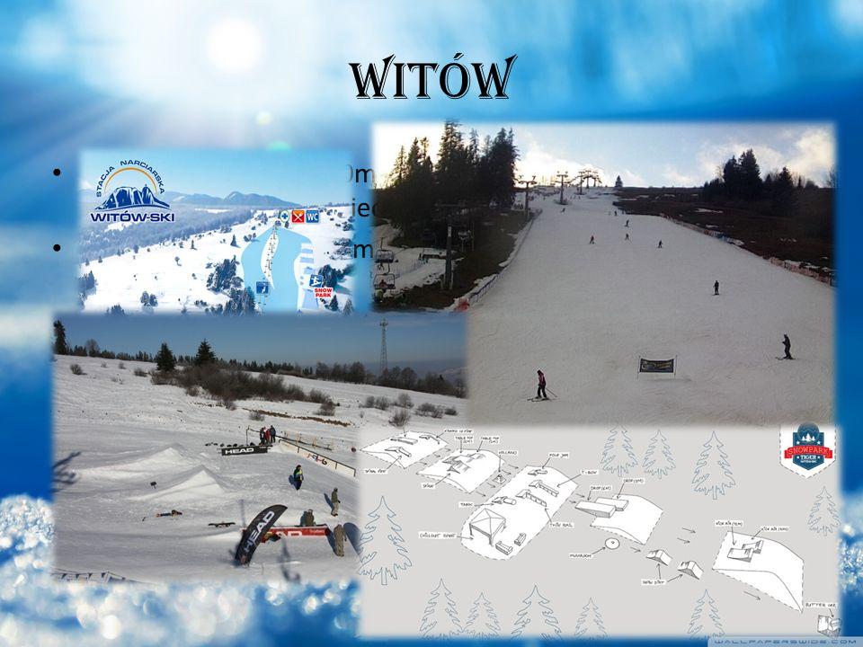 WITÓW Kolej krzesełkowa 1000m dł, nowoczesna czteroosobowa kolej linowa, szeroka odpowiednia trasa dla całej rodziny Wyciąg orczykowy 120 m długości idealny dla najmłodszych i początkujących osób Snow Park 550 m długości, 3 linie/ 8 skoczni/ 12 przeszkód