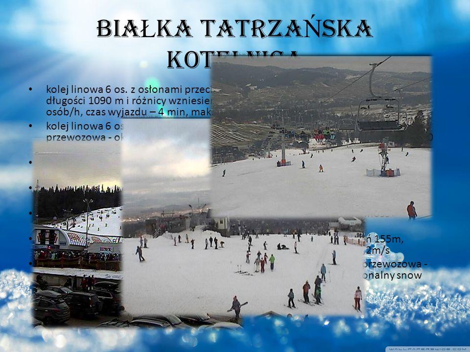 BIA Ł KA TATRZA Ń SKA KOTELNICA kolej linowa 6 os. z osłonami przeciwwietrznymi, podgrzewanymi siedzeniami o długości 1090 m i różnicy wzniesień 175 m