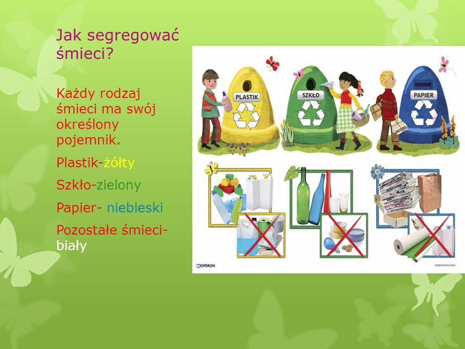 Jak segregować śmieci? Każdy rodzaj śmieci ma swój określony pojemnik. Plastik-żółty Szkło-zielony Papier- niebieski Pozostałe śmieci- biały