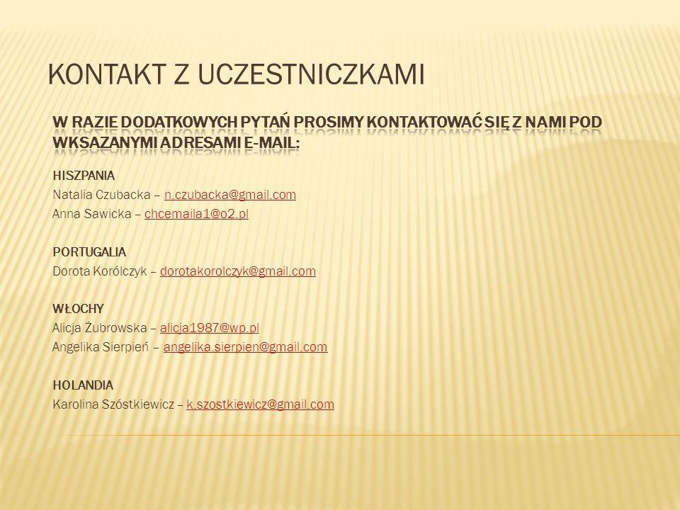 HISZPANIA Natalia Czubacka – n.czubacka@gmail.comn.czubacka@gmail.com Anna Sawicka – chcemaila1@o2.plchcemaila1@o2.pl PORTUGALIA Dorota Korólczyk – do