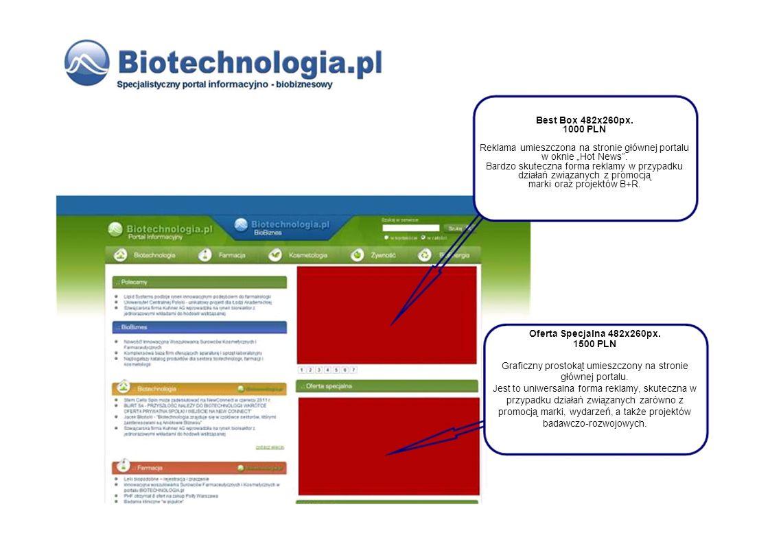 Best Box 482x260px. 1000 PLN Reklama umieszczona na stronie głównej portalu w oknie Hot News. Bardzo skuteczna forma reklamy w przypadku działań związ