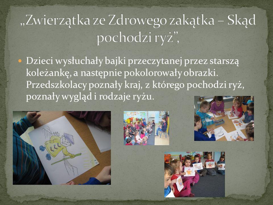Dzieci wysłuchały bajki przeczytanej przez starszą koleżankę, a następnie pokolorowały obrazki. Przedszkolacy poznały kraj, z którego pochodzi ryż, po