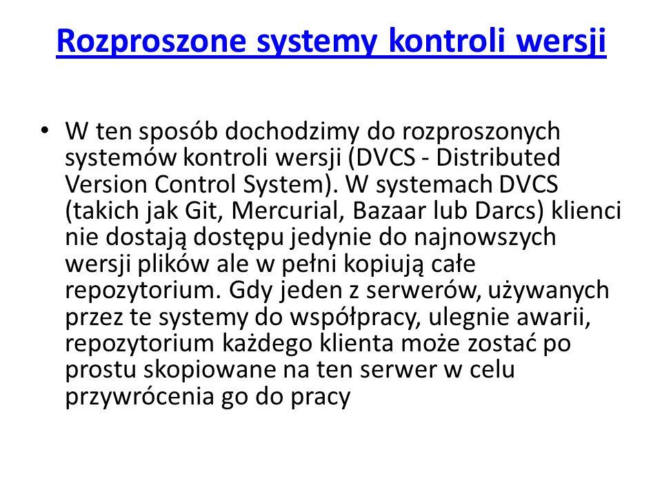 Rozproszone systemy kontroli wersji W ten sposób dochodzimy do rozproszonych systemów kontroli wersji (DVCS - Distributed Version Control System). W s