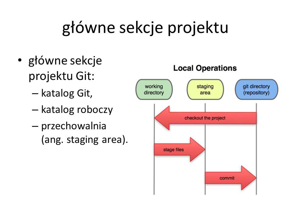 główne sekcje projektu główne sekcje projektu Git: – katalog Git, – katalog roboczy – przechowalnia (ang. staging area).