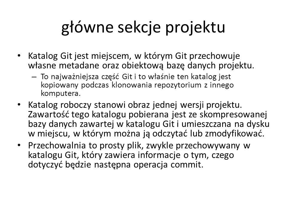 główne sekcje projektu Katalog Git jest miejscem, w którym Git przechowuje własne metadane oraz obiektową bazę danych projektu. – To najważniejsza czę