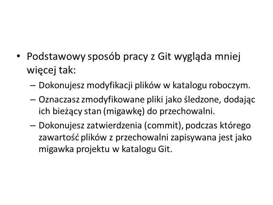 Podstawowy sposób pracy z Git wygląda mniej więcej tak: – Dokonujesz modyfikacji plików w katalogu roboczym. – Oznaczasz zmodyfikowane pliki jako śled