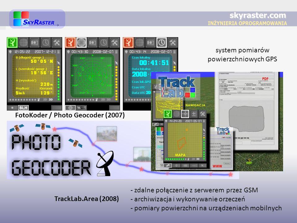 FotoKoder / Photo Geocoder (2007) system pomiarów powierzchniowych GPS TrackLab.Area (2008) - zdalne połączenie z serwerem przez GSM - archiwizacja i