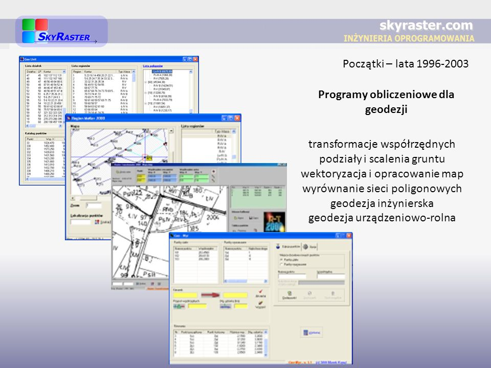 Początki – lata 1996-2003 Programy obliczeniowe dla geodezji transformacje współrzędnych podziały i scalenia gruntu wektoryzacja i opracowanie map wyr