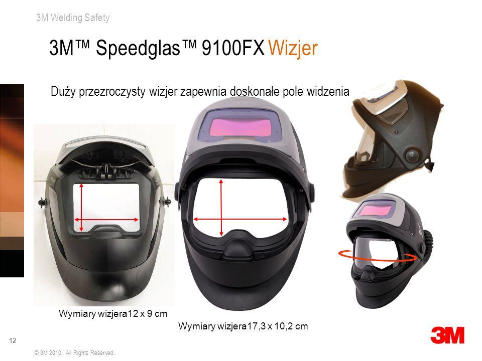 3M Welding Safety 12 © 3M 2010. All Rights Reserved. Wymiary wizjera17,3 x 10,2 cm Wymiary wizjera12 x 9 cm Duży przezroczysty wizjer zapewnia doskona