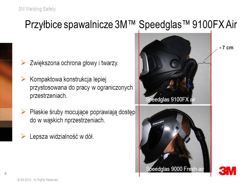 3M Welding Safety 8 © 3M 2010. All Rights Reserved. Zwiększona ochrona głowy i twarzy. Kompaktowa konstrukcja lepiej przystosowana do pracy w ogranicz