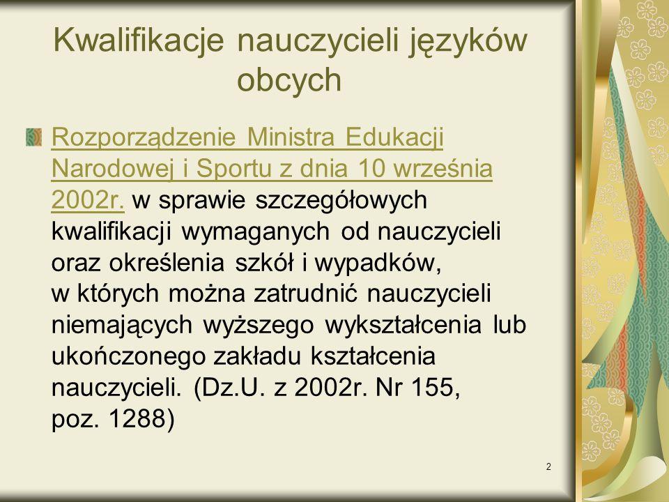 2 Kwalifikacje nauczycieli języków obcych Rozporządzenie Ministra Edukacji Narodowej i Sportu z dnia 10 września 2002r.Rozporządzenie Ministra Edukacj