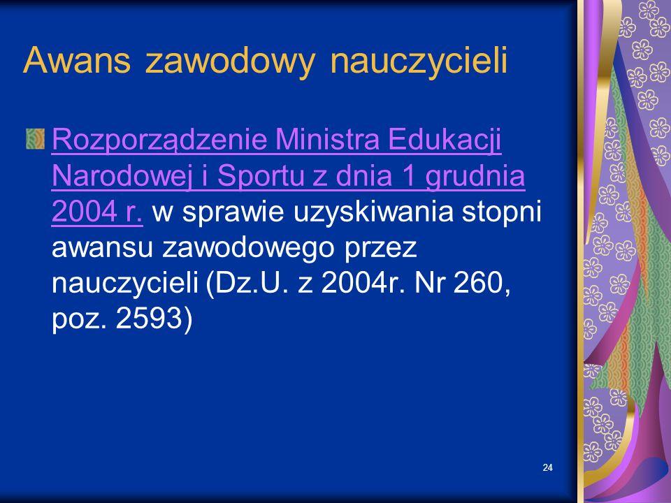 24 Awans zawodowy nauczycieli Rozporządzenie Ministra Edukacji Narodowej i Sportu z dnia 1 grudnia 2004 r.Rozporządzenie Ministra Edukacji Narodowej i Sportu z dnia 1 grudnia 2004 r.