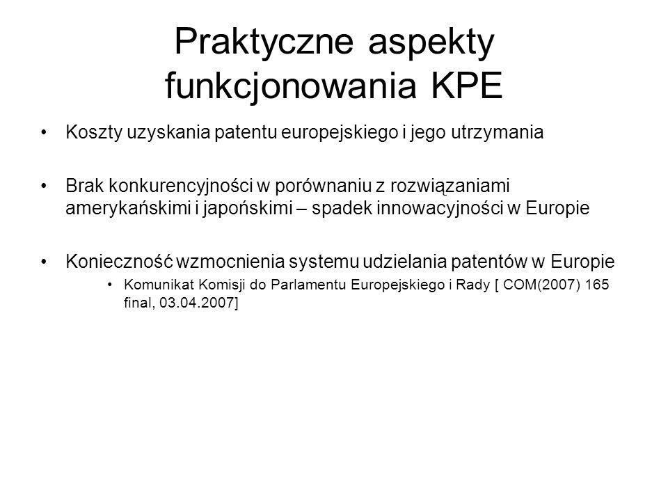 Praktyczne aspekty funkcjonowania KPE Koszty uzyskania patentu europejskiego i jego utrzymania Brak konkurencyjności w porównaniu z rozwiązaniami amer