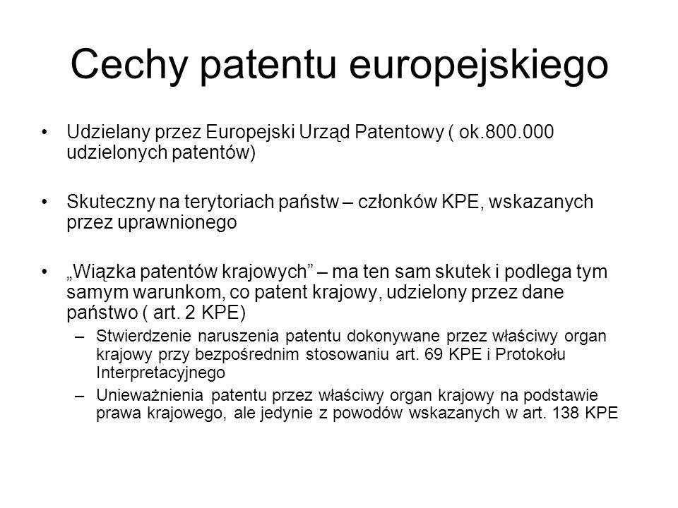 Cechy patentu europejskiego Udzielany przez Europejski Urząd Patentowy ( ok.800.000 udzielonych patentów) Skuteczny na terytoriach państw – członków K