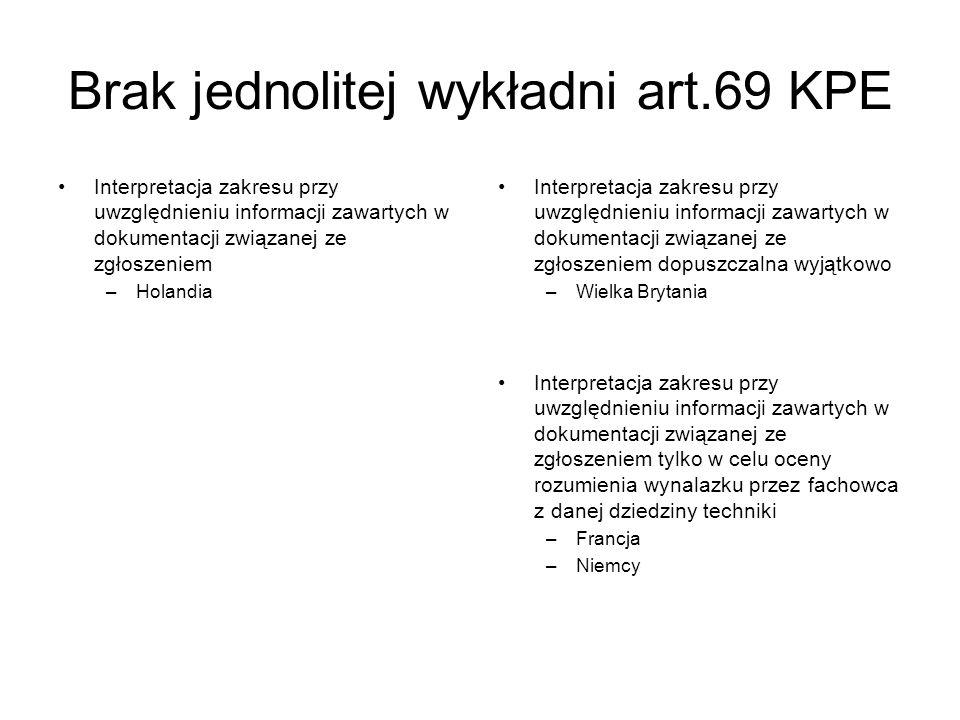 Brak jednolitej wykładni art.69 KPE Interpretacja zakresu przy uwzględnieniu informacji zawartych w dokumentacji związanej ze zgłoszeniem –Holandia In